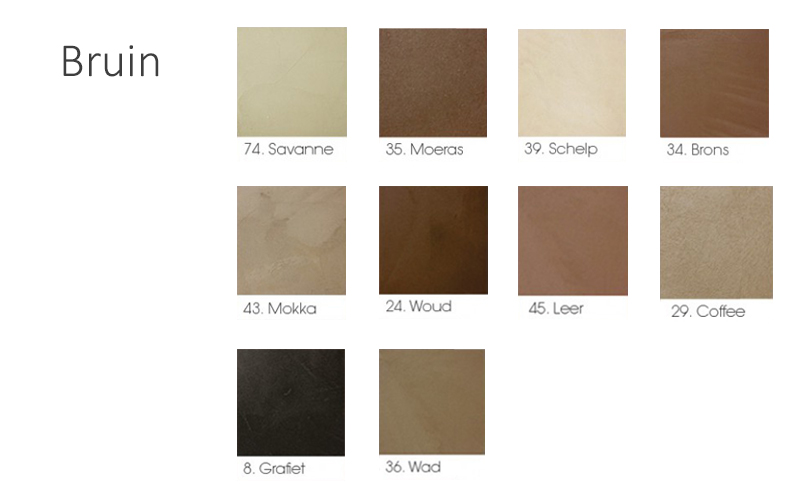 beton cire bruin tinten