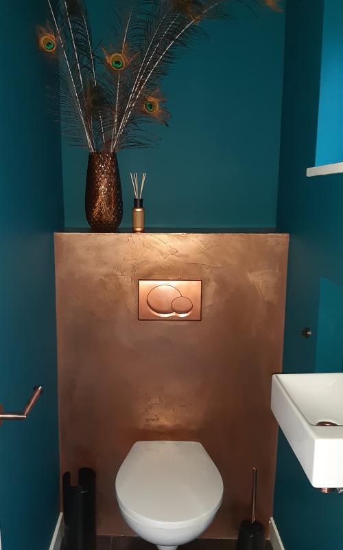 metal stuc koper toilet peacock pride flexa